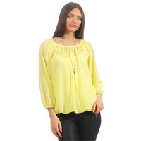 LADIES LONG-SLEEVED CHIFFON BLOUSE WITH TOP AND NECKLACE...