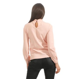 Long-sleeved ladies blouse with flounces and pearls apricot
