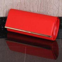 Exclusive ladies faux leather clutch handbag red