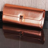 ELEGANT GLAMOUR LADIES CLUTCH HANDBAG SHINY ROSE GOLD