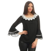 Ladies chiffon blouse with flounce sleeves and lace black...