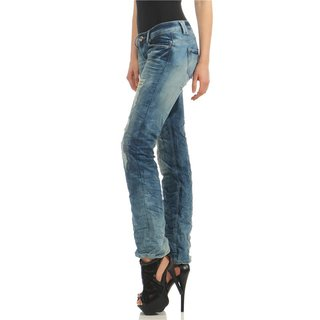 Trendige Damen Destroyed Jeans in Crashed Used-Look Blau