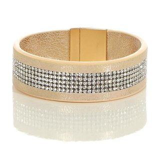 Glamour Damen Kunstleder Party-Armband mit Strass Gold