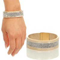 Ladies glamour party rhinestone armlet faux leather gold