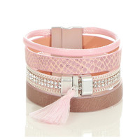 LADIES FAUX LEATHER PARTY ARMLET WITH SEVERAL STRAPS PINK