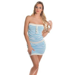 Sexy striped bandeau dress beach dress turquoise / white