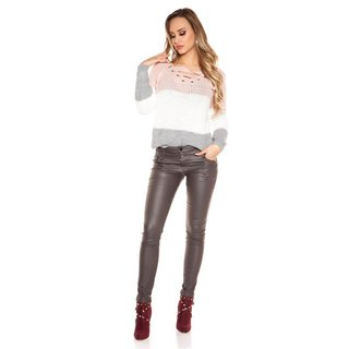 Sexy 5-Pocket Damen Hose in Leder-Look Wetlook Grau
