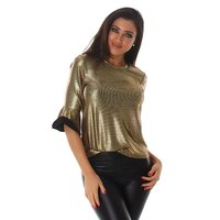 ELEGANT SHINY LADIES SHIRT WITH FLOUNCE SLEEVES GOLD