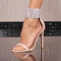 GLAMOROUS LADIES VELOUR SANDALS WITH RHINESTONES BEIGE