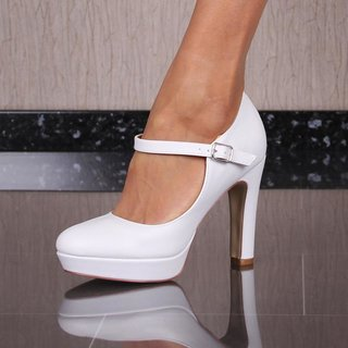 8d187dd19d5af1 SEXY PLATFORM COURT SHOES HIGH HEELS WITH ANKLE STRAPS WHITE ...