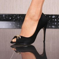 ELEGANTE DAMEN PEEP-TOE SCHUHE PUMPS HIGH HEELS SCHWARZ