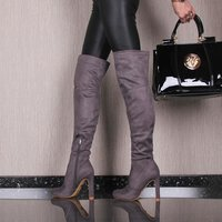 Sexy ladies high heel overknee boots made of velvet grey...