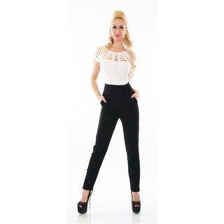 SEXY LADIES OVERALL JUMPSUIT WITH CUT-OUTS WHITE/ BLACK
