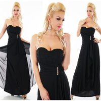 FLOOR-LENGTH COCKTAIL EVENING DRESS WITH CHIFFON VEIL BLACK
