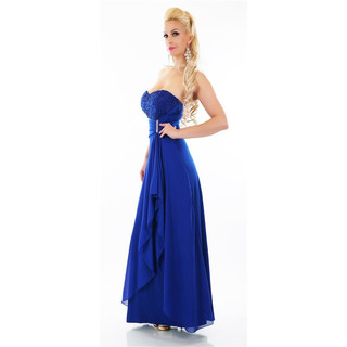 Bodenlanges Cocktail Abendkleid mit Chiffon-Schleier Royal Blau