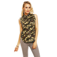 SLEEVELESS LADIES JEANS BLOUSE IN ARMY LOOK CAMOUFLAGE...