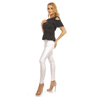 SÜSSES DAMEN COLD-SHOULDER SHIRT MIT POLKA-DOTS SCHWARZ