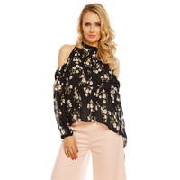 LADIES LONG-SLEEVED PLEATED BLOUSE MADE OF CHIFFON BLACK