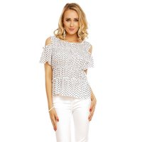 SÜSSES DAMEN COLD-SHOULDER SHIRT MIT POLKA-DOTS WEISS...