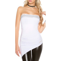 ASYMMETRISCHES PARTY DAMEN BANDEAU TOP MIT STRASS WEISS