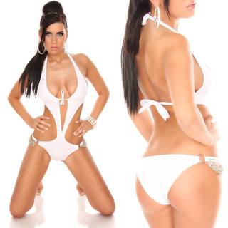 SEXY MONOKINI BIKINI BEACHWEAR WITH CHAINS WHITE