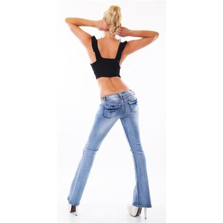 Sexy Damen Destroyed Bootcut Jeans mit Rissen Used-Look Blau