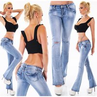 Sexy Damen Destroyed Bootcut Jeans mit Rissen Used-Look...