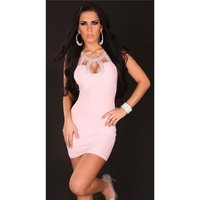 Sexy mini dress party dress with sequins pink Onesize (UK...