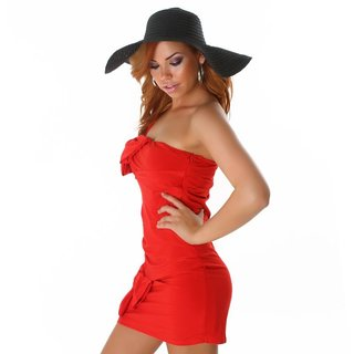 SEXY ONE-SHOULDER MINIDRESS WITH LOOPS RED