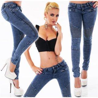 Damen Hüft Jeans Hose Röhrenjeans Schnürung Stretch Zier Zipper XS-XL