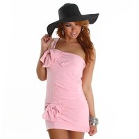 SEXY ONE-SHOULDER MINIDRESS WITH BOWS PINK