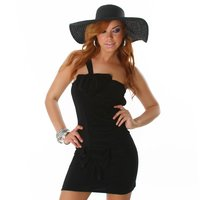 SEXY ONE-SHOULDER MINIDRESS WITH LOOPS BLACK