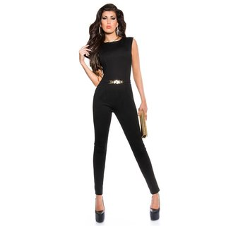 Elegant sleeveless overall jumpsuit with gold-coloured buckle black UK 12/14 (M)