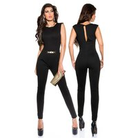 ELEGANT SLEEVELESS OVERALL JUMPSUIT WITH GOLD-COLOURED...