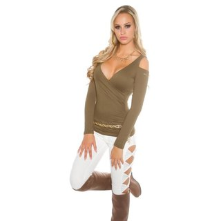 Damen Cold-Shoulder Langarm-Shirt in Wickel-Optik Khaki