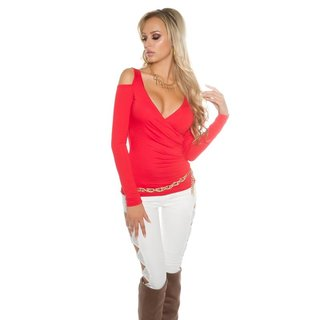 DAMEN COLD-SHOULDER LANGARM-SHIRT IN WICKEL-OPTIK ROT