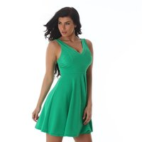 LOOSE-FITTING LADIES A-LINE MINIDRESS WITH STRAPS GREEN