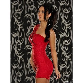 Sexy One-Shoulder Minikleid Kleid mit Pailletten Rot