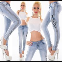 SKINNY LADIES STRETCH DRAINPIPE JEANS WITH FLOWERS &...