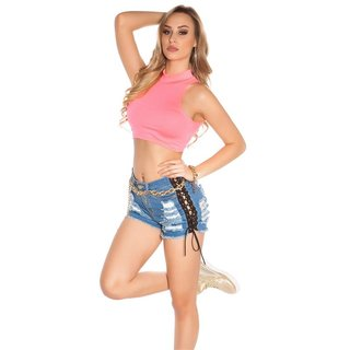 Sexy ladies belly crop top with stand-up collar neon-coral