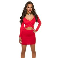 SEXY LADIES LONG-SLEEVED PARTY DRESS MINIDRESS RED