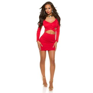 Sexy ladies long-sleeved party dress mini dress red Onesize (UK 8,10,12)