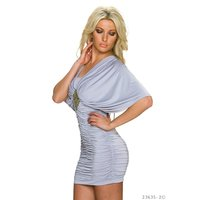 ELEGANT PARTY MINIDRESS WITH KIMONO SLEEVES GREY