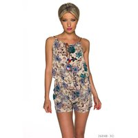 SHORT LADIES HOT PANTS OVERALL PLAYSUIT WITH FLOWERS BLUE