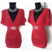 ELEGANT MINIDRESS WITH RHINESTONE BUCKLE DARK FUCHSIA