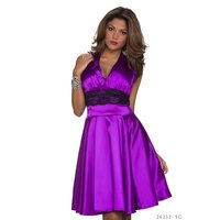 DAMEN NECKHOLDER SATIN ABENDKLEID IN A-LINIEN FORM LILA