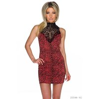 Sexy Party-Minikleid Leopard Animal mit Spitze...