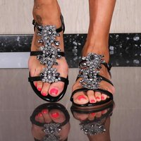 FLAT LADIES STRAP SANDALS SUMMER SHOES WITH RHINESTONES...