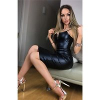 Sexy ladies bodycon strap dress faux leather V-neck black...
