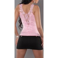 SEXY LADIES STRAPPY TOP WITH LACE AT THE BACK PINK